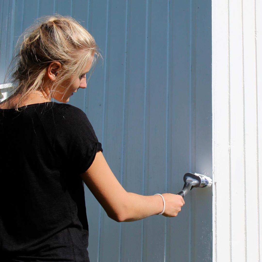 Dame maler husveggen