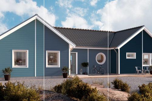 Hus ved sjøen malt i tre ulike blåfarger