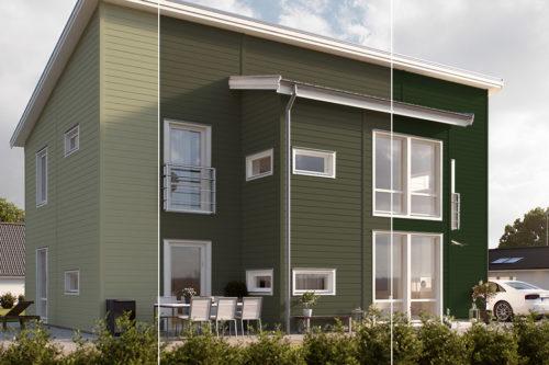 Hus malt i tre ulike grønnfarger