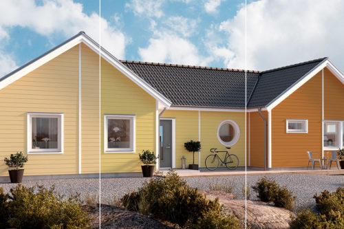 Hus ved sjøen malt i tre ulike gulfarger