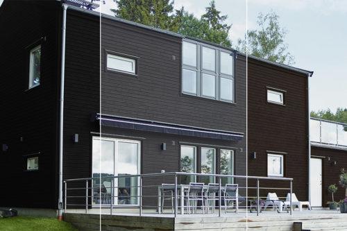 Moderne hus malt med tre ulike mørke farger