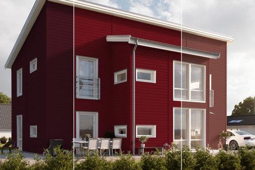 Hus malt i tre ulike rødfarger