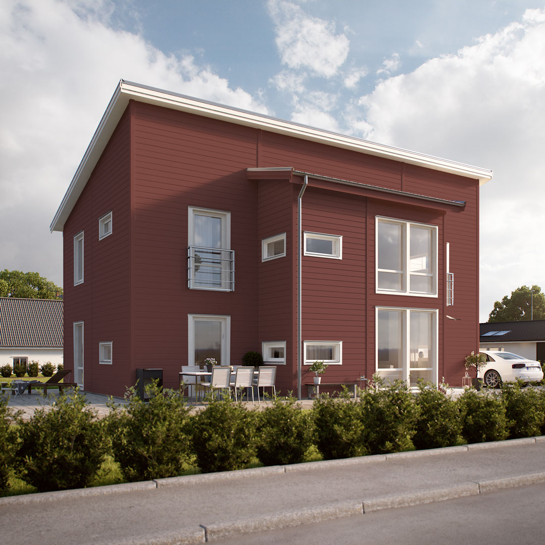Hus ved veien malt med rødfarge reddik